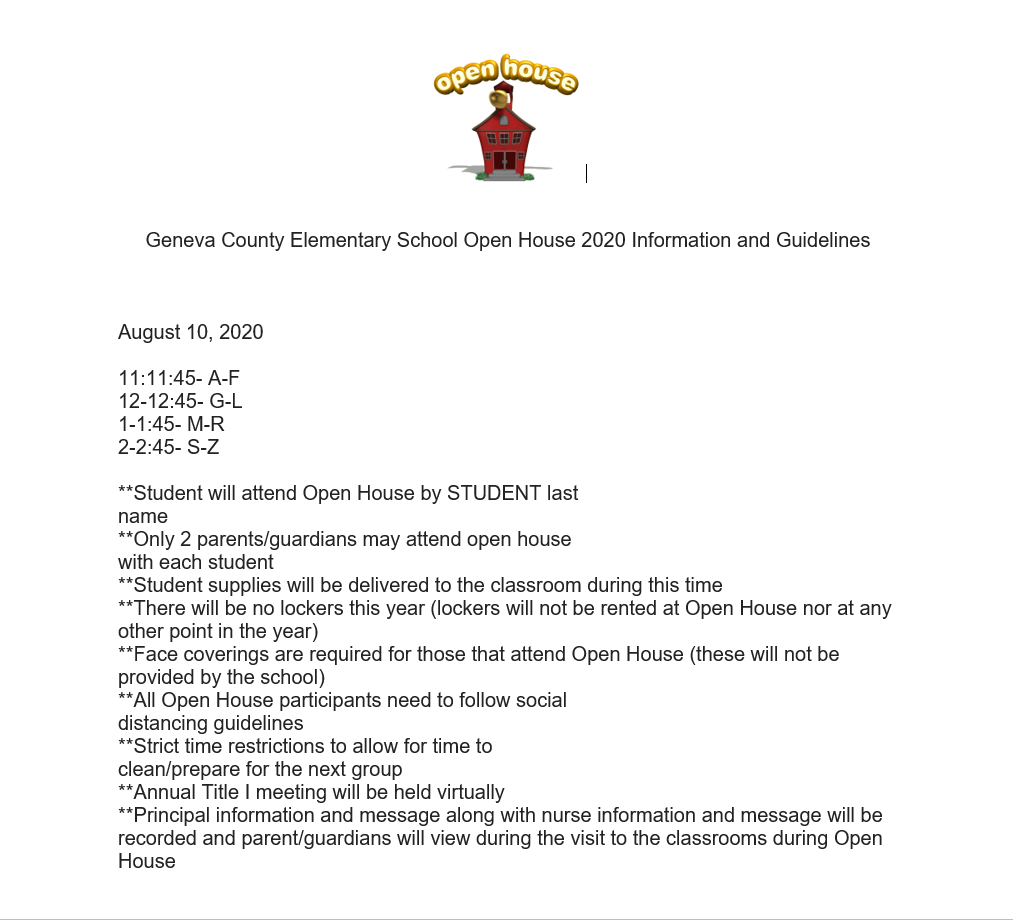 Geneva County Elementary School Open House