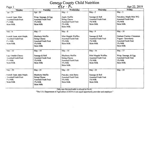 May PreK Menu